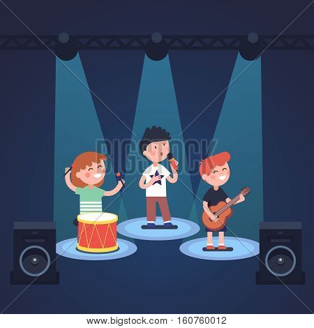Kids music band playing and rocking at spot light lit stage festival. Glowing young stars. Modern flat style vector illustration cartoon clipart.