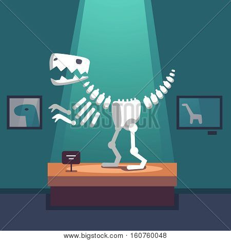 Tyrannosaurus dinosaur skeleton at archeology museum exposition room. Lit with spot light. Modern flat style vector illustration cartoon clipart.