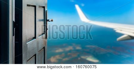 Opened Door Concept To Beautiful And Imaginary Sky Landscape