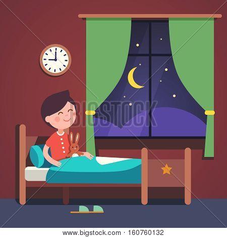 Boy kid preparing to sleep bedtime in his bedroom bed. Good night time. Modern flat style vector illustration cartoon clipart.