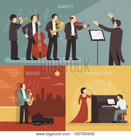 Musicians design concept set of quartet with conductor busker and romance song compositions flat vector illustration