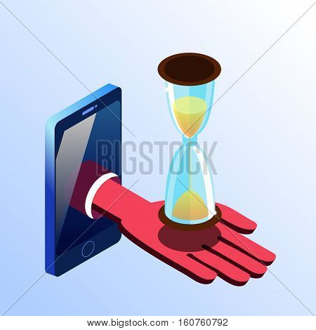 Isometric vector smartphone showing hand with hourglass. 3d stock illustration