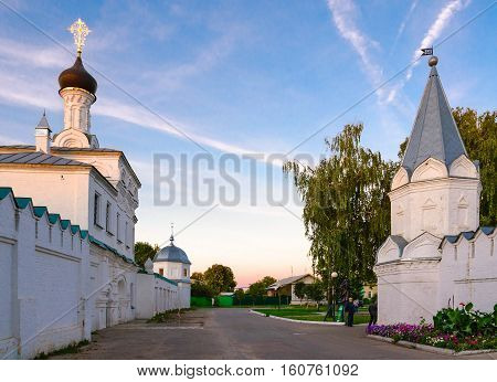 Holy Annunciation Monastery and Holy Trinity Convent in evening at sunset Murom Russia