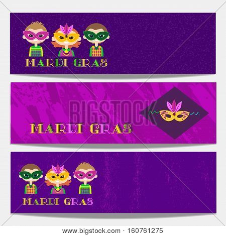 Mardi Gras celebration. Set of horizontal banners. Freehand cartoon fancy style. Kids in masquerade costumes, masks. Template for carnival invitation greeting. Vector headline decoration background