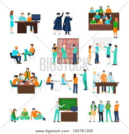 Higher education person set of students in different situations in flat style isolated vector illustration