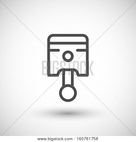 Piston line icon isolated on grey. Vector illustration