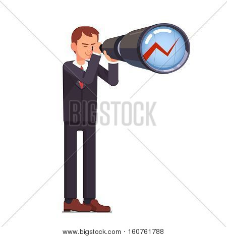 Financial investment forecasting. Business man stock market trading broker looking ahead through spyglass on a growth chart. Flat style vector character illustration.