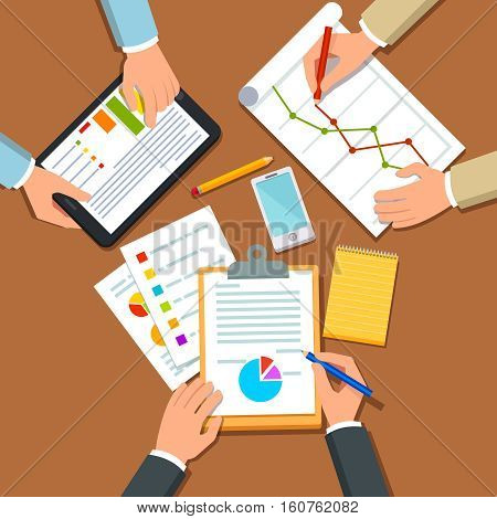 Business people discussing business plan, talking about sales and marketing statistical figures on graphs and charts. Top view. Flat style vector illustration.