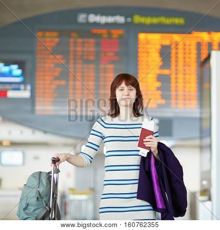 Beautiful Young Female Passenger At The Airport