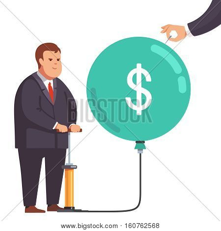 Big fat corporation or financial power depicted as obese business man inflating a market bubble with dollar sign. Hand holding a needle ready to pop burst it. Flat style vector concept illustration.