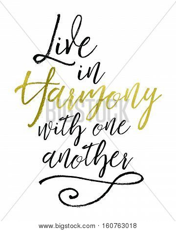 Live in Harmony with One Another Bible Verse Typographic Art Design
