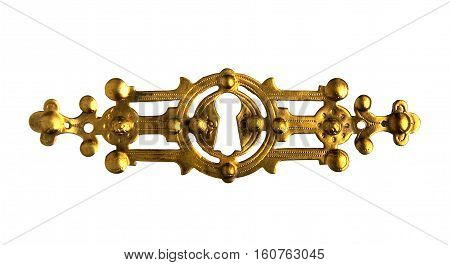 Antique brass or bronze furniture accessories isolated on white background