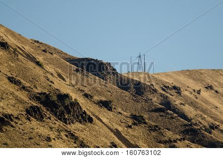 Utility Poles Standing High Above the Heart of Hells Canyon