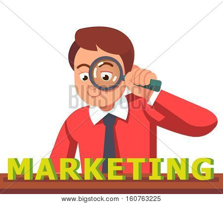 Business man looking at MARKETING word through magnifying glass. Financial analyst concept. Flat style vector character illustration.