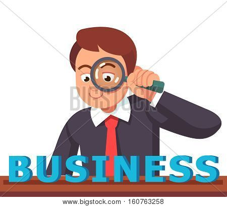 Business man looking at BUSINESS word through magnifying glass. Financial analyst concept. Flat style vector character illustration.
