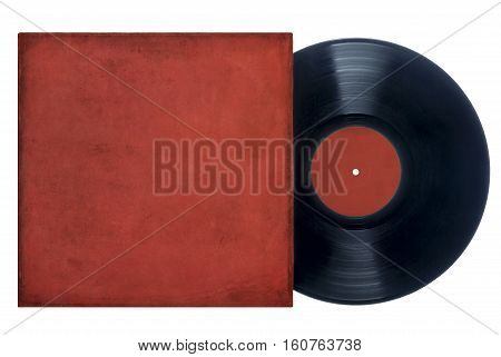 Image of a vinyl record with a grungy red cover and label on a white background. Space for copy.