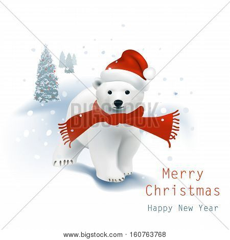 Polar Bear cub with Santa hat and red scarf walking in the snowfall, Christmas tree stands behind.Vector illustration on white background.