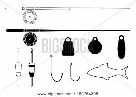 Fishing tackle. Fishing rods, hooks, sinkers, floats. Vector illustration isolated on white background