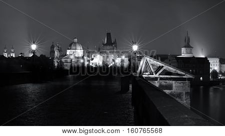 on the Charles Bridge in Prague at night