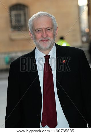 LONDON, UK, NOV, 13 2016: Jeremy Corbyn Leader of the Labour Party attends the BBC Andrew Marr Show at the BBC Studios picture taken in the street