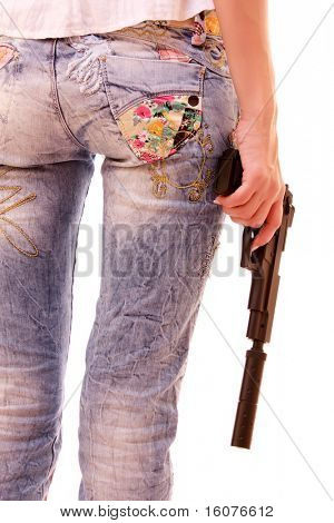 Woman ass and pistol in hands isolated on white