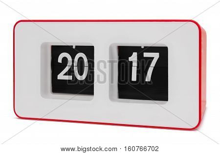 Retro red flip clock displays 2017 year, isolated on white with paths