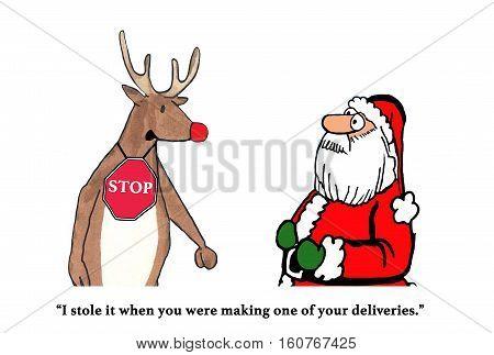 Color Christmas cartoon about a mischievous reindeer.