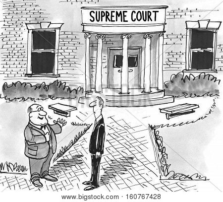 Black and white illustration of two men standing in front of the Supreme Court building.