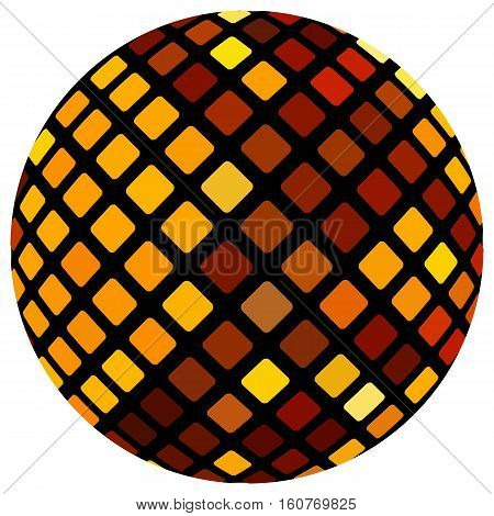 Orange mosaic ball, isolated on a white background.