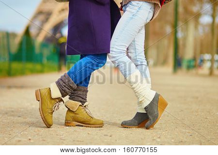 Two Girls Hugging On The Street In Paris