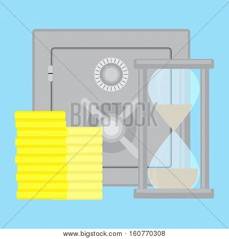 Safety deposit box. Bank vault safe and saving box vector illustration