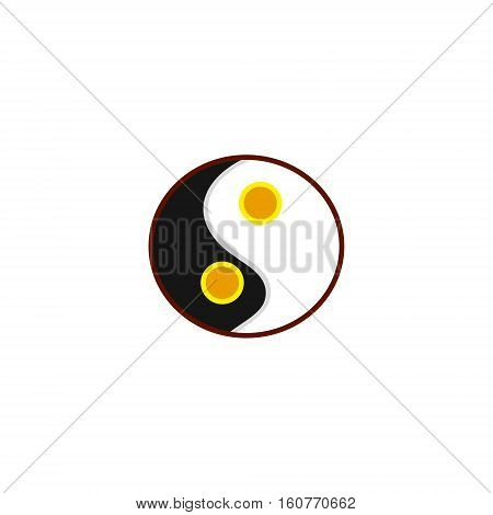 Scrambled eggs on scourage the yolk and white. Primitive omelet a symbol of harmony. Feng Shui image vector illustration