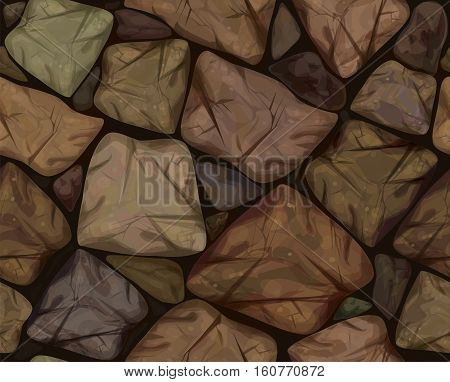 Vector seamless texture brown colors stonewall background.