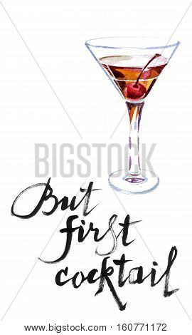 But first cocktail wineglass of vermouth with cherry hand drawn watercolor - Illustration