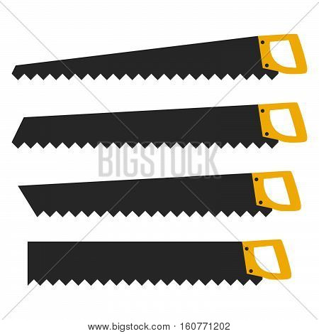 Vector set of hand saw tools flat isolated on white background.silhouettes carpentry tools for sawing wood .Elements of design of the websites the poster, a banner, a leaflet the theme of manual works