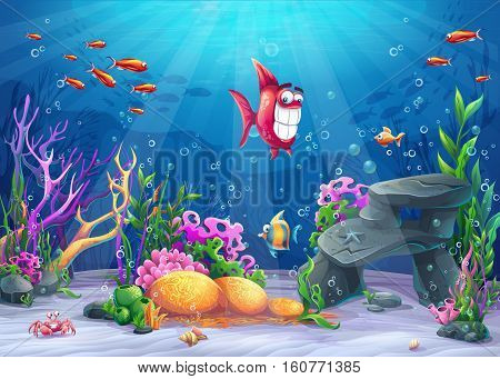 Undersea with fish. Marine Life Landscape - the ocean and the underwater world with different inhabitants. For design websites and mobile phones printing.