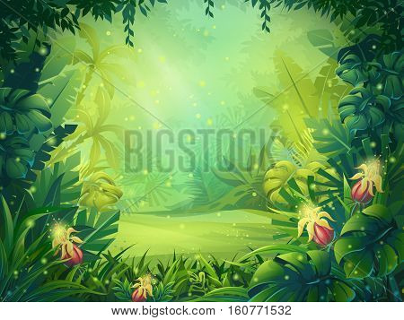Vector cartoon illustration of background morning rainforest. Bright jungle with ferns and flowers. For design game websites and mobile phones printing.
