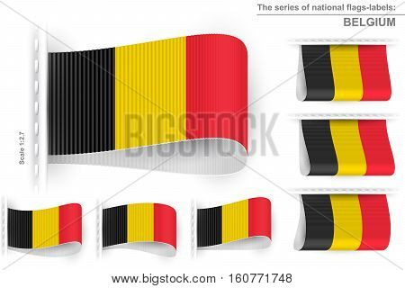 National state flag of Belgium; Sewn clothing label tag; Vector icon set Kingdom of Belgium flags Eps10