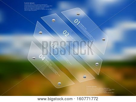 Illustration infographic template with motif of glass hexagon askew divided to four sections. Blurred photo with natural motif is used as background with blue cloudy sky over the path.