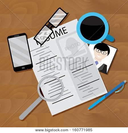 Write resume and look for job. Job interview and job search. curriculum vitae writing interview. Vector illustration