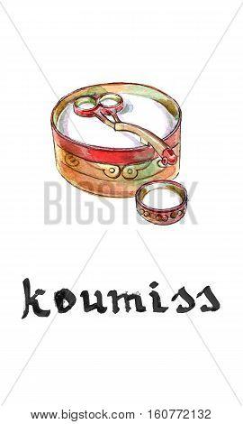 Kazakh cuisine bowl of koumiss of fermented horse milk hand drawn - watercolor Illustration