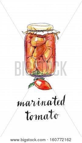 Glass jar of marinated tomatoes hand drawn - watercolor Illustration