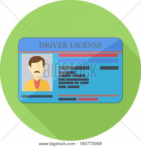 Driver License Green Round Flat Icon. Vector Illustration Of Flat Design.