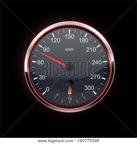 Speedometer on black background. red backlight. Vector illustration