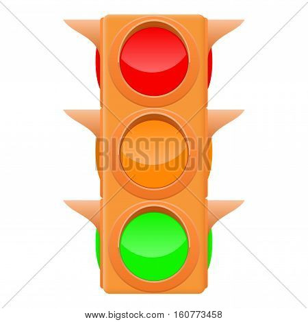 Traffic light. Sand color. Vector illustration isolated on white background