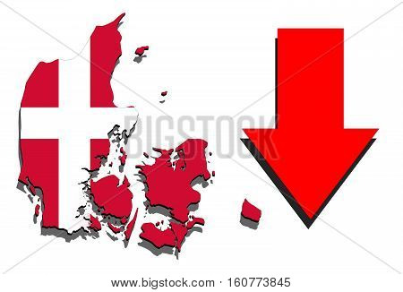 Denmark Map On White Background With Red Arrow Down