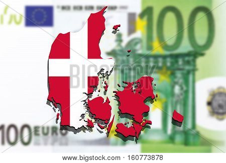 close up on Denmark map on Euro money background