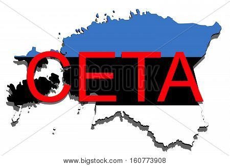 Ceta - Comprehensive Economic And Trade Agreement On White Background, Estonia Map