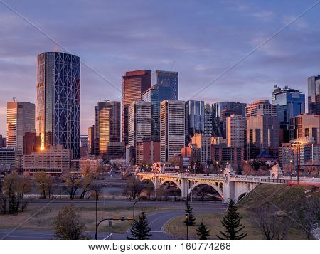 Sweeping skyline view at sunrise on October 22, 2016 in Calgary, Alberta. Calgary is home to many oil companies.
