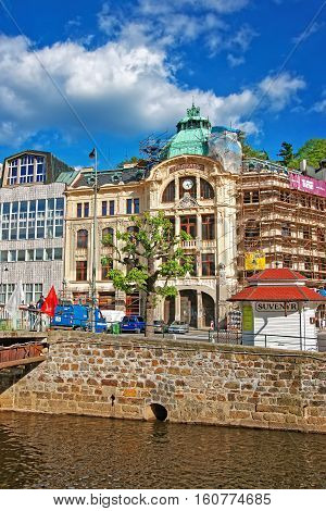 Bank Sparkasse At Promenade And Tepla River In Karlovy Vary